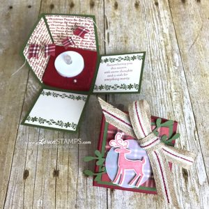 LovenStamps: Stamping Made Simple - Explosion Box Cards for Christmas with Dashing Deer and Detailed Deer Thinlits from the Stampin Up Holiday Catalog for Stamps in the Mail Club with Meg