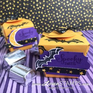 LovenStamps: Spooky Sweets and Takeout Box Treats - Holiday Catalog candy boxes for Halloween with the Twinkle and Spooky Bats Punches