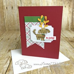 LovenStamps: Bella & Friends stamp set is perfect for the dog-lovers on your card list this year. Make it clever by turning the dog into a Grinch look-alike!