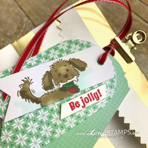 LovenStamps: Christmas gift card packaging for the dog lovers - with Bella & Friends stamp set from Stampin Up
