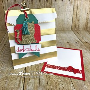 LovenStamps: Christmas gift card packaging for cat lovers, featuring the Cat Punch from Stampin Up