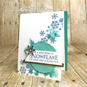 LovenStamps: Beautiful Blizzard card with embossing mat dry embossed snowflakes