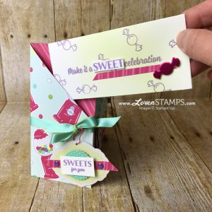 LovenStamps: Sweetest Thing and the Jar of Sweets Framelits featuring the How Sweet It Is designer paper for a special DSP envelope card and tutorial, kits available only at LovenStamps