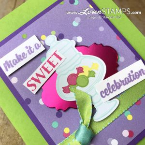 LovenStamps: Sweetest Thing and Jar of Sweets card idea for birthdays and more, for Stamps in the Mail Club with Meg only at LovenStamps
