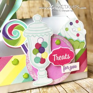 LovenStamps: Sweetest Thing and the How Sweet It Is designer series paper on a Mini Gable Box for Stamps in the Mail Club with Meg, featuring 2019 Occasions Catalog from Stampin Up