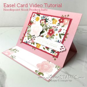 LovenStamps: How to make an easel card - simple card folding ideas, with Needle and Thread stamps for Stamps in the Mail Club with Meg