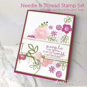 LovenStamps: Needle and Thread stamp set masking idea, plus tips on how to get perfect embroidery images with Stampin Up Classic Ink Pads