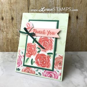 LovenStamps: Abstract Impressions Gate Fold Card - perfect layout for using designer series paper like Garden Expressions (retiring soon) for Stamps in the Mail Club with Meg