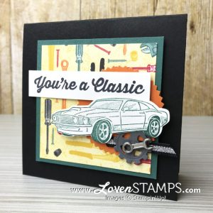 LovenStamps: Geared Up Garage and the Garage Gears Dies from Stampin Up, don't miss the soon-to-retire Classic Garage designer paper