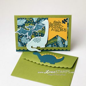 dino days scalloped note cards and envelopes stampin up lovenstamps