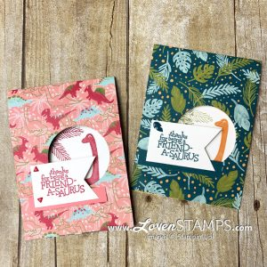 LovenStamps: Dino Days and the Dinoroar Suite from Stampin Up for a DSP Peekaboo Card video tutorial
