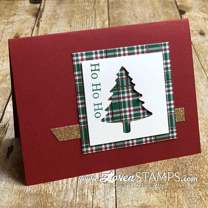 wrapped in plaid christmas tree silhouette card