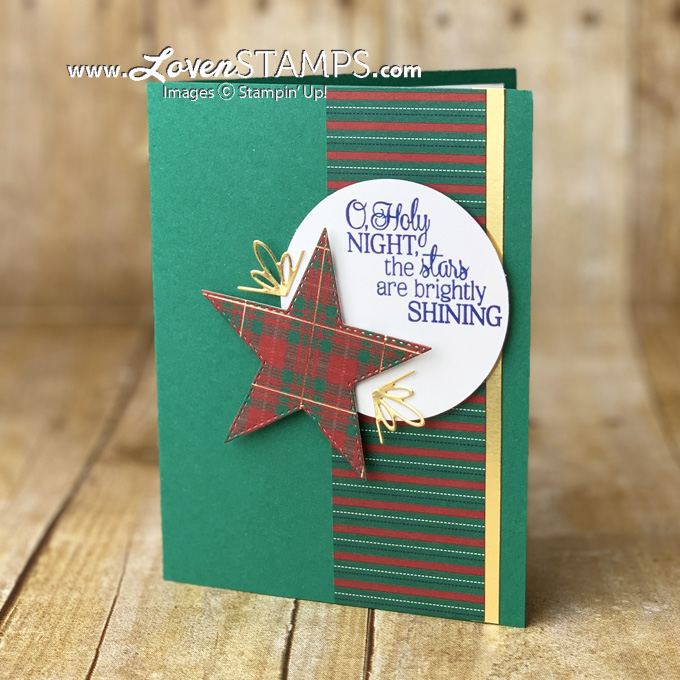 wrapped in plaid designer series paper stitched stars dies christmas card