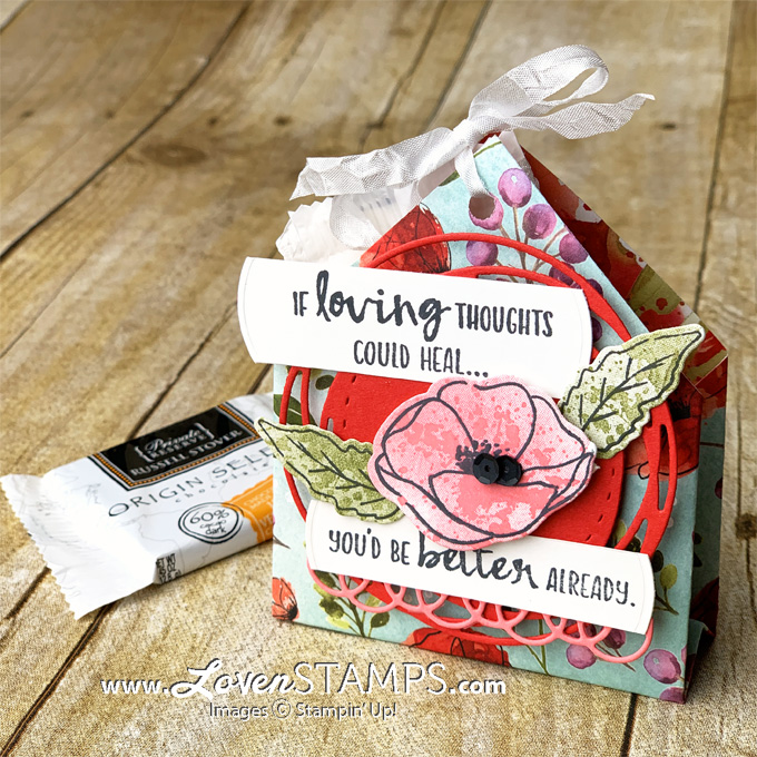 peaceful poppies 6x6 paper folded pocket treat holder stampin up mini catalog 2020