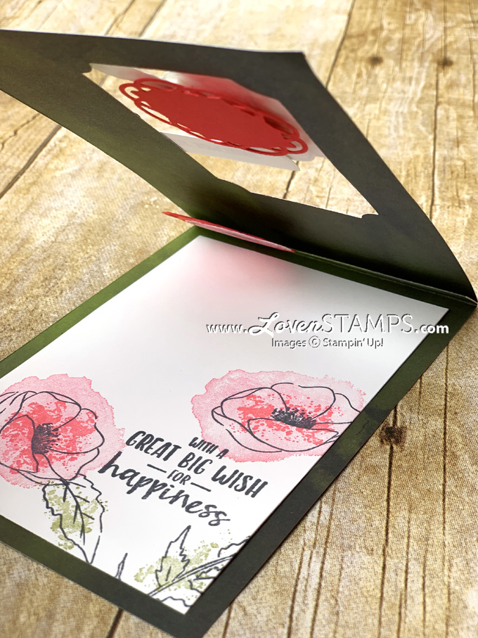 painted poppies stamp set and peaceful poppies designer series paper card idea by lovenstamps from the stampin up 2020 mini catalog