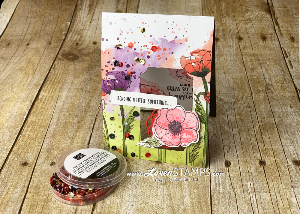 painted poppies stamp set and peaceful poppies designer series paper dsp card base pop up peek-a-boo idea by lovenstamps from the stampin up 2020 mini catalog