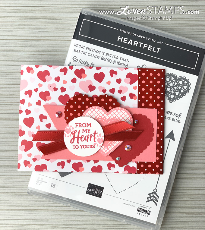from my heart dsp card base heartfelt punch pack valentine gems stampin up card idea