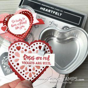 Lovenstamps stampin up foil heart tin baking treat valentine card idea heartfelt stamp set