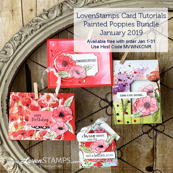 LovenStamps: Painted Poppies Bundle and Sending You Thoughts SAB set for January tutorials gift for Stampin Up online orders