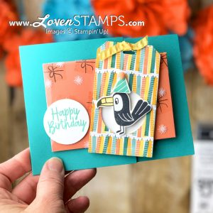 gift card pocket card directions video tutorial birthday bonanza buddies stampin up lovenstamps