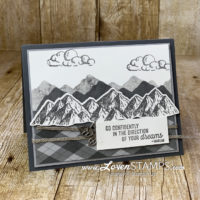 monochromatic masculine card idea for the majestic mountain air stamp set die bundle from stampin up