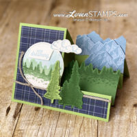 majestic mountain air stamp set stair step card video tutorial with cutting directions made simple by lovenstamps using stampin up supplies