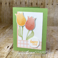 timeless tulip builder punch card idea with stampin up pleased as punch designer series paper by lovenstamps for easter