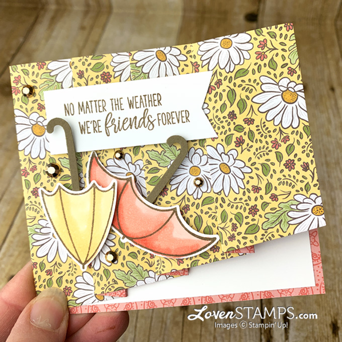 dsp card base fun fold technique with drapery fold featuring under my umbrella by lovenstamps
