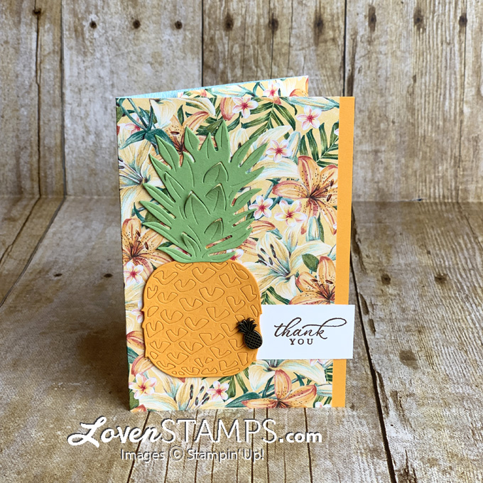timeless tropical bundle stampin up pineapple triple panel masking technique card from lovenstamps