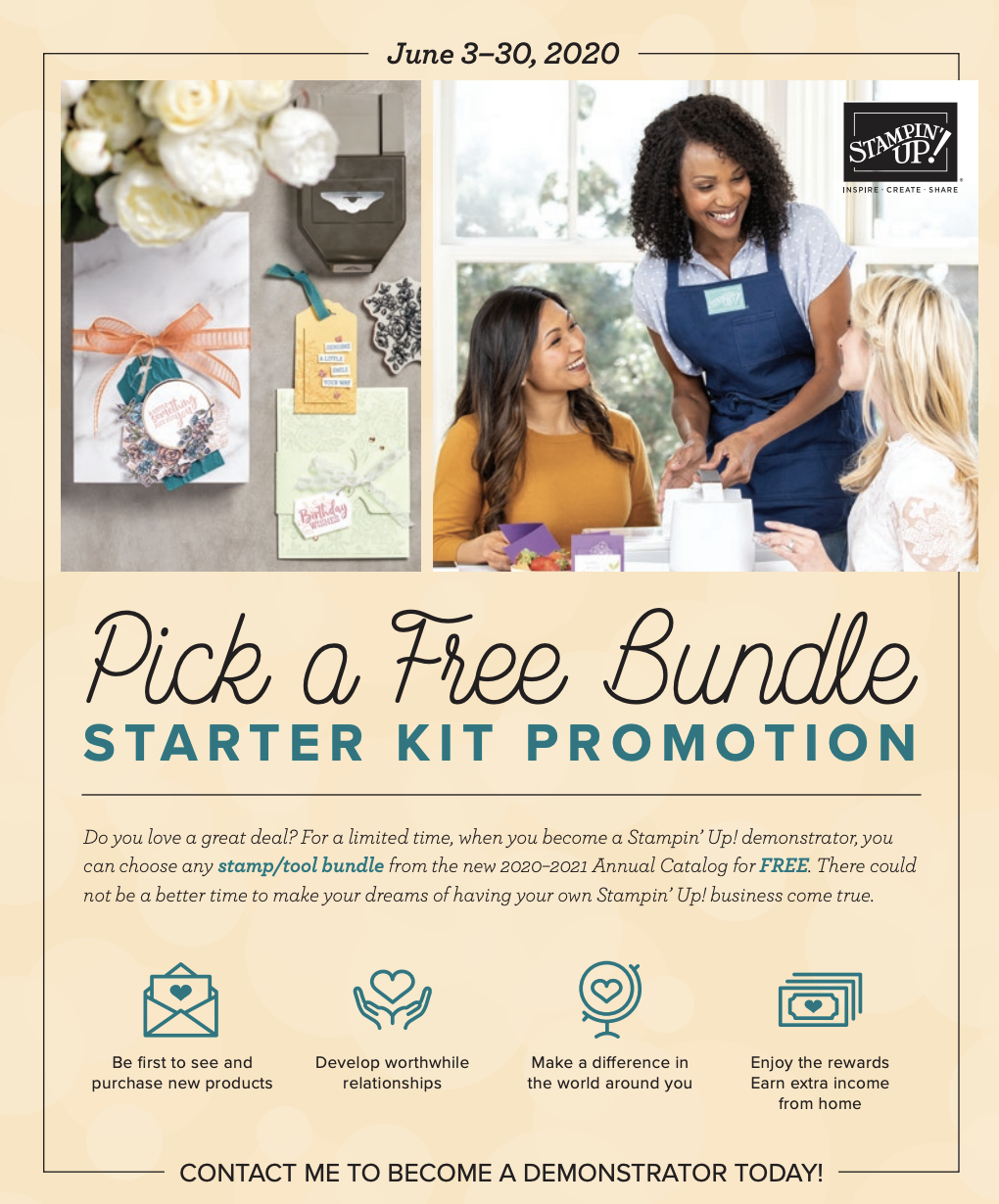 join stampin up and lovenstamps community as a demonstrator with pick a free bundle special