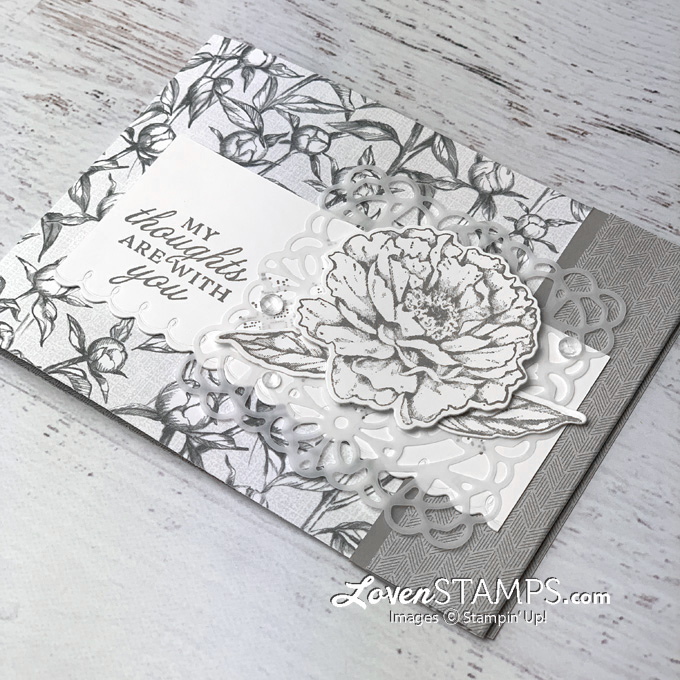 prized peony dsp card base lovenstamps stampin up garden square vellum doilies monochromatic card idea