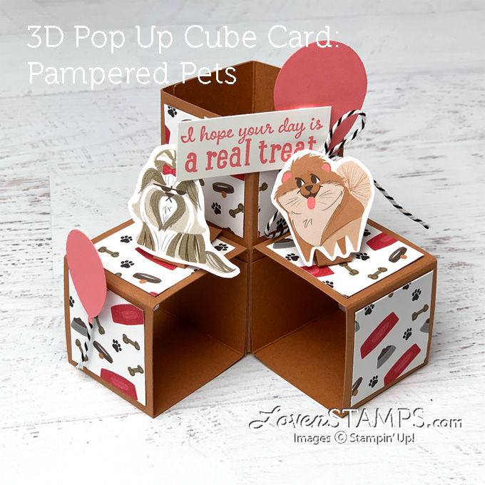 3d pop up cube card playful pampered pets lovenstamps stampin up how to video tutorial