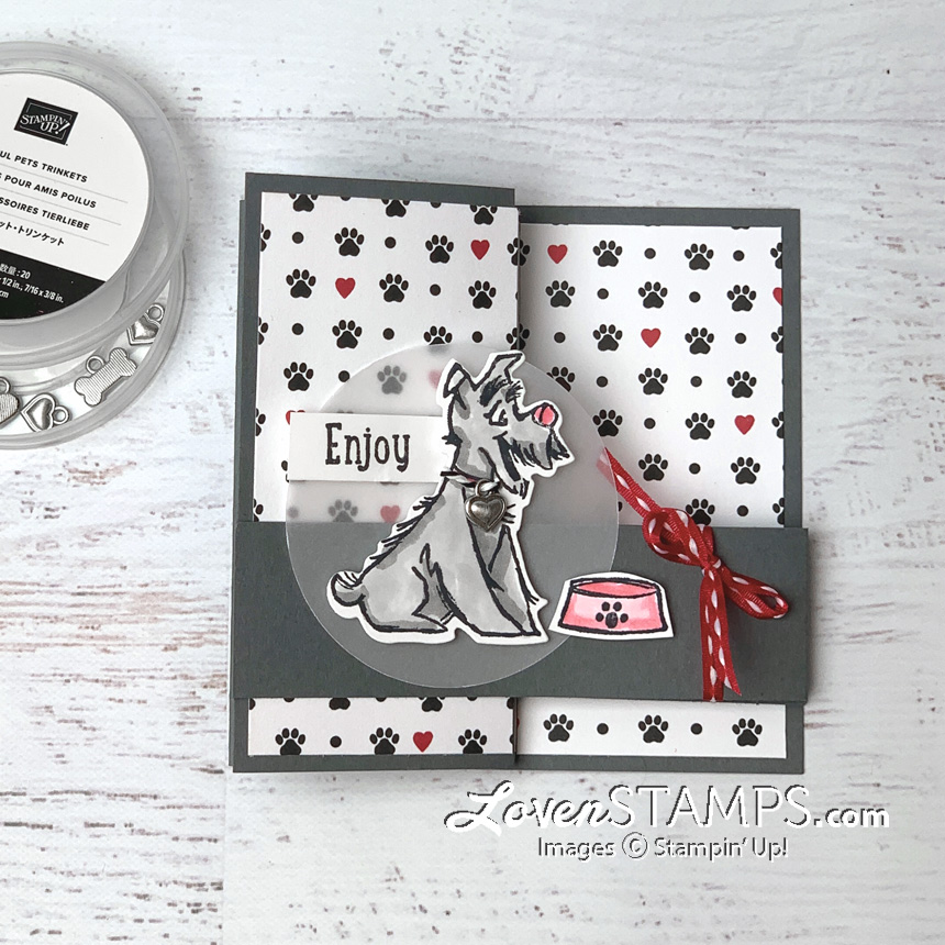 playful pets double z fold zig zag card trinkets lovenstamps video tutorials supplies from stampin up