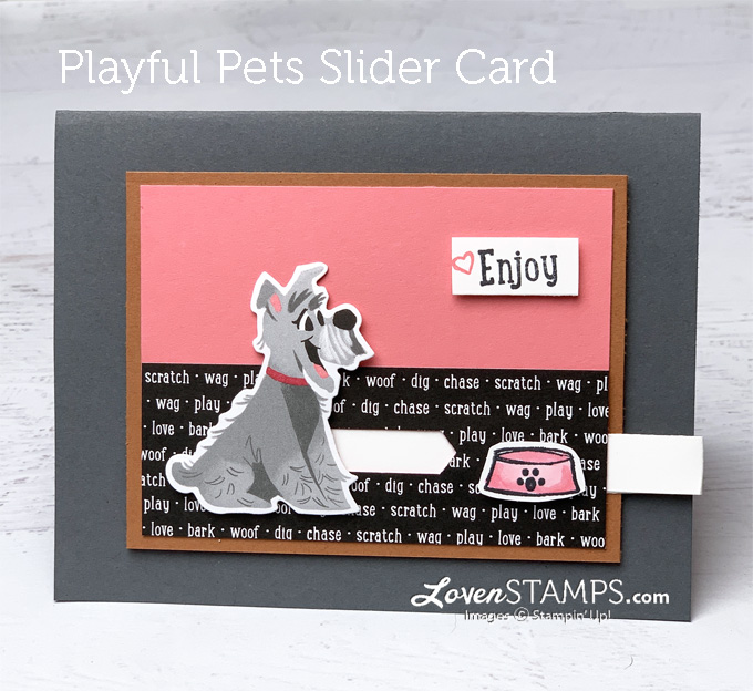 dog slider card playful pets tutorial cards that move lovenstamps how to make a pull tab