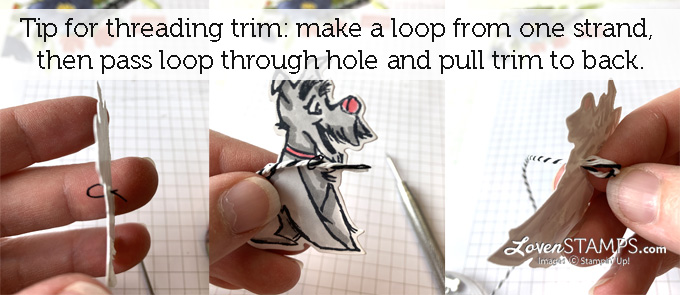 tip for threading playful pets trim through a tiny hole from lovenstamps