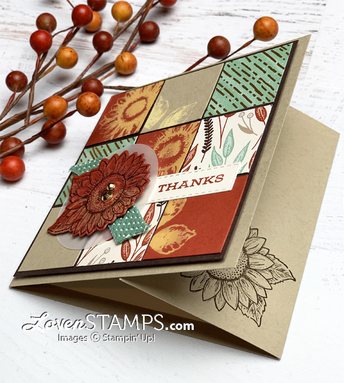 how to stamp with bleach directions for celebrate sunflowers quilt square collage card from lovenstamps