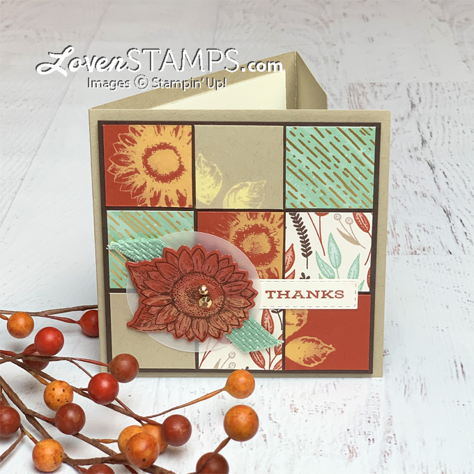 trifold how to stamp with bleach directions for celebrate sunflowers quilt square collage card from lovenstamps