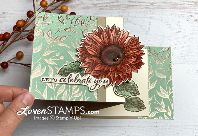 celebrate sunflowers gilded autumn dsp extended z fun fold watercolor tutorial video from lovenstamps