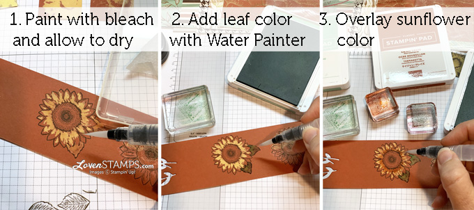 how to paint with bleach water painters celebrate sunflowers steps video tutorial stampin up lovenstamps