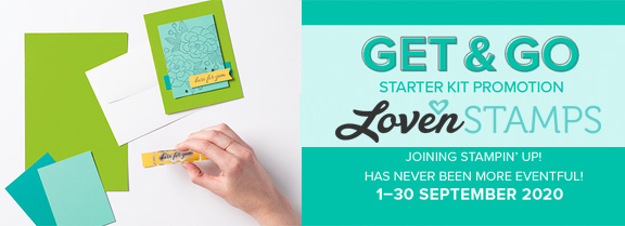 LovenStamps get and go demonstrator starter kit cards promotion september 2020