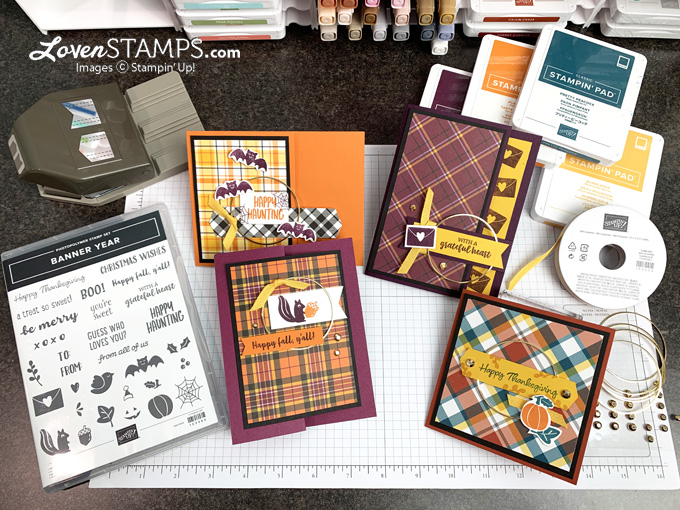 banner year pick a punch plaid tidings kit ideas from meg loven tutorials for stampin up fall catalog