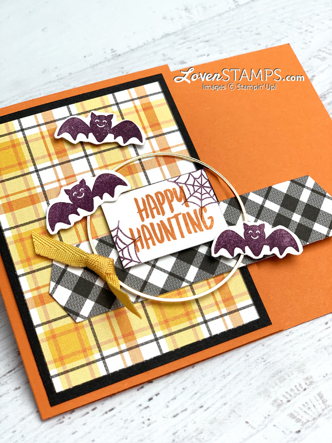 batty happy haunting banner year pick a punch plaid tidings halloween card gold hoop tutorials from lovenstamps supplies stampin up