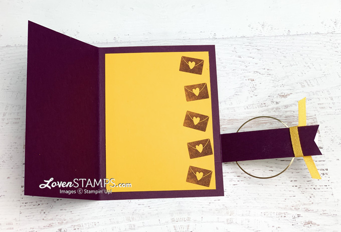 gold maroon buckle fun fold card plaid tidings dsp banner year stamps pick a punch gold hoops gems tutorial video