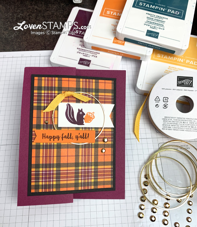 squirrel nut plaid tidings dsp fun fold gold hoops banner year pick a punch lovenstamps video tutorial