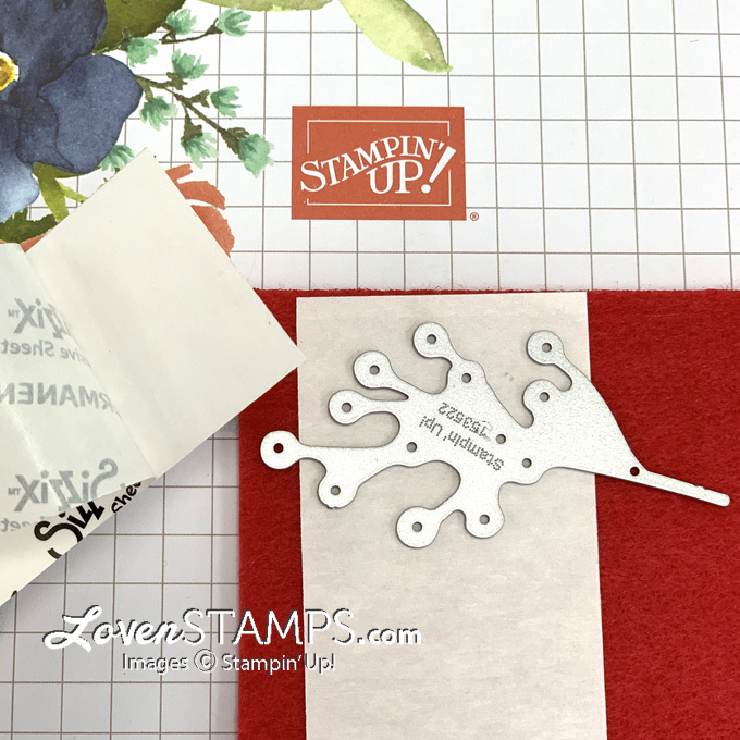 how to use stampin up adhesive sheets for cutting red felt poinsettia die berries
