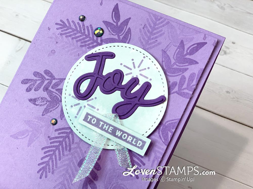 hand made purple christmas card joy word art blue rhinestone gems