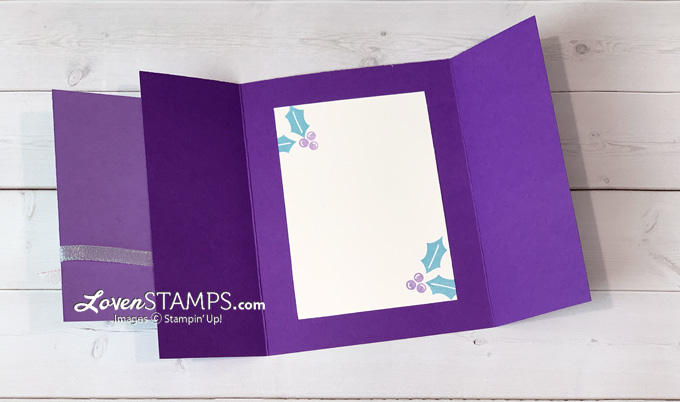 purple peace christmas card idea with stampin up peace and joy stamp set