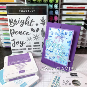 ink pad supplies purple peace christmas card idea with stampin up peace and joy stamp set