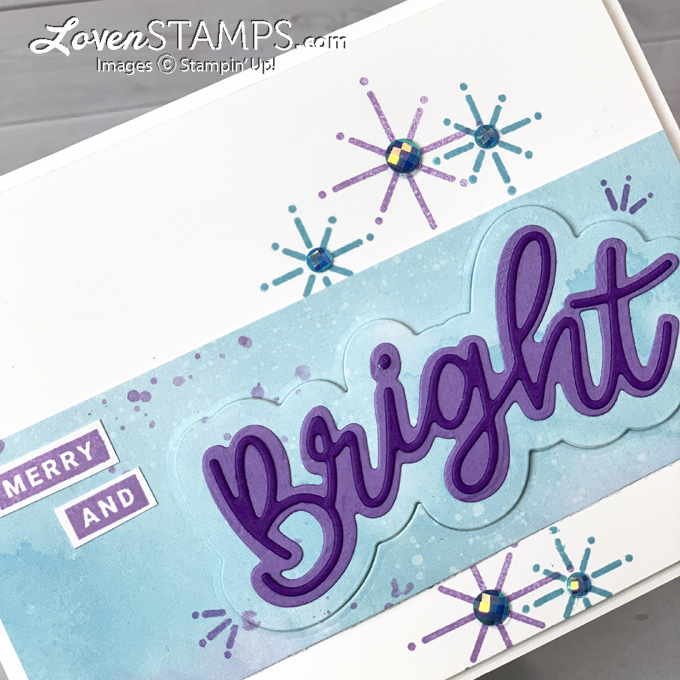 christmas bright word art card idea stampin up