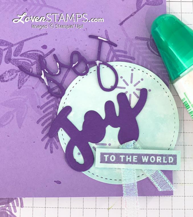 hand stamped purple christmas card joy word art blue rhinestone gems